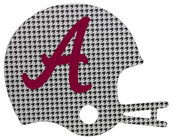 "9.75"" Alabama Football Helmet,  Houndstooth Wooden Alabama Helmet, Wooden Alabama Letter, Football Decor, Sports Wreath Decorations- AB2273"