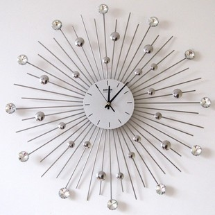Stainless Steel Large Decorative Modern Style Crystals Wall Clock