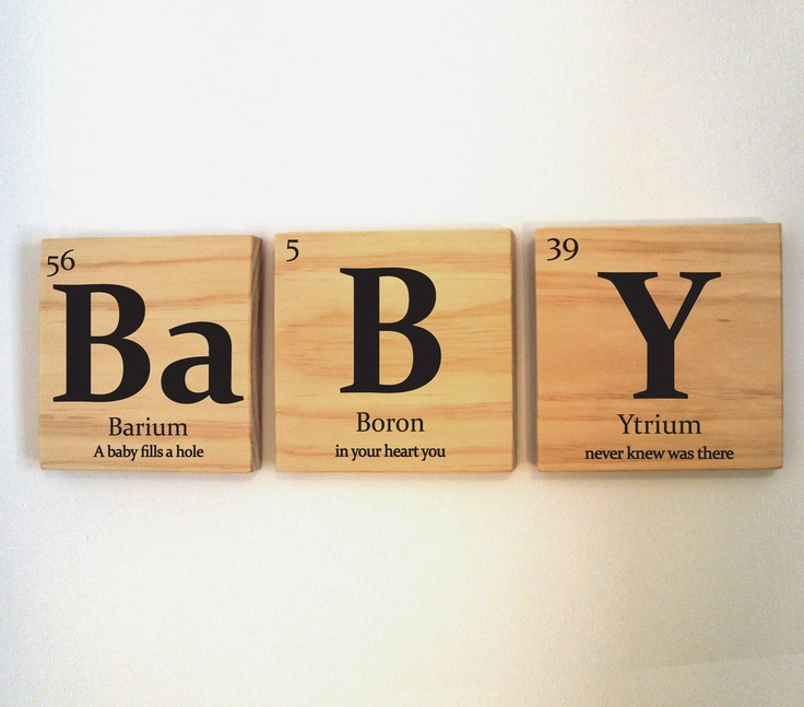 The 21 best periodic table art images on pinterest periodic table baby wooden tile wall art with quote periodic table of elements urtaz Image collections