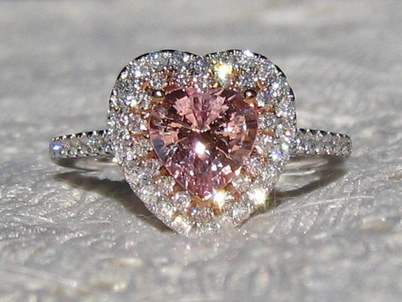 Peachy Pink Sapphire Engagement Ring, White and Rose Gold Double Diamond Halo Engagement Ring with Heart Peach Sapphire, by JuliaBJewelry