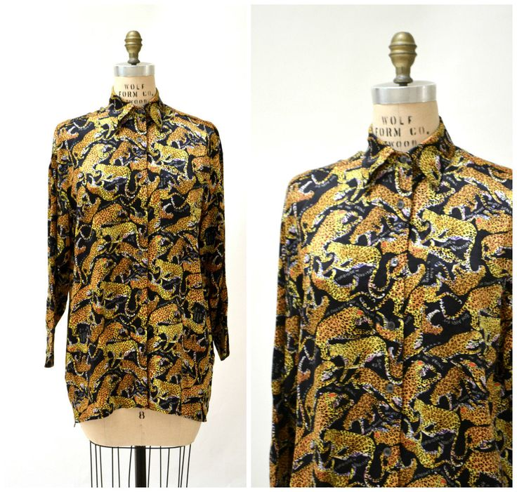 90s Animal Print Silk Shirt Leopard Nicole Miller Silk Shirt Small Large// Vintage Silk Animal Print Shirt Long Sleeve Mens Silk shirt by Hookedonhoney on Etsy