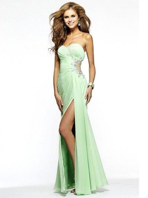 Prom Dress,Sheath/Column Sweetheart Ruffles Beading Chiffon Floor-length Evening