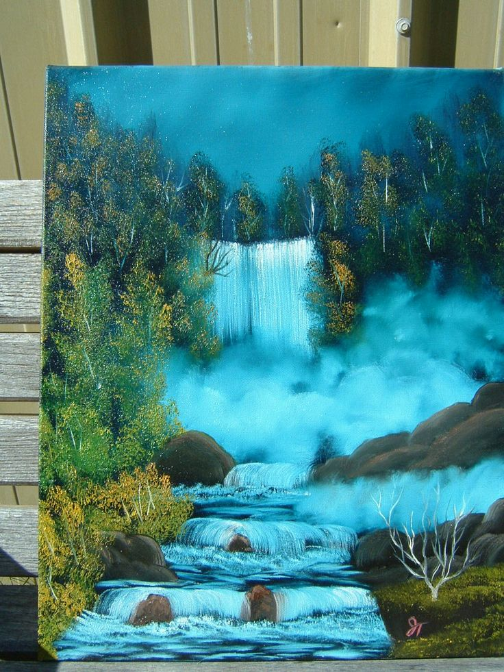 Best 25 waterfall paintings ideas on pinterest for Acrylic mural painting techniques
