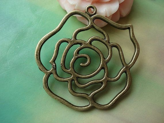 [BEAUTY & THE BEAST]  5 pcs 40mm Antique Bronze Brass Large Hollow by handmadeworld88