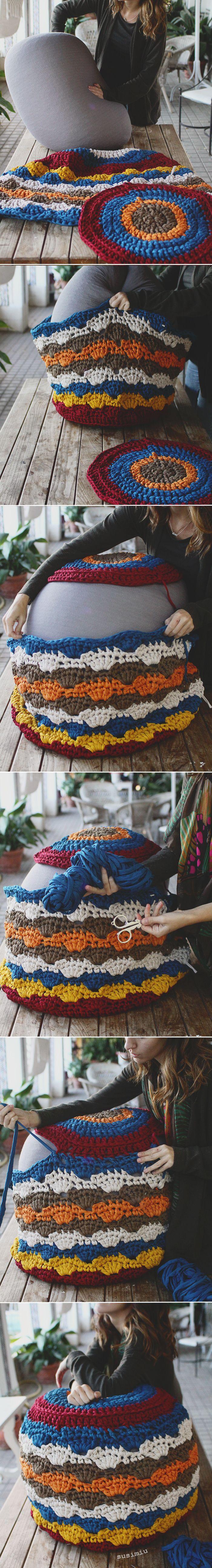 Tutorial de puff de trapillo a crochet con punto concha