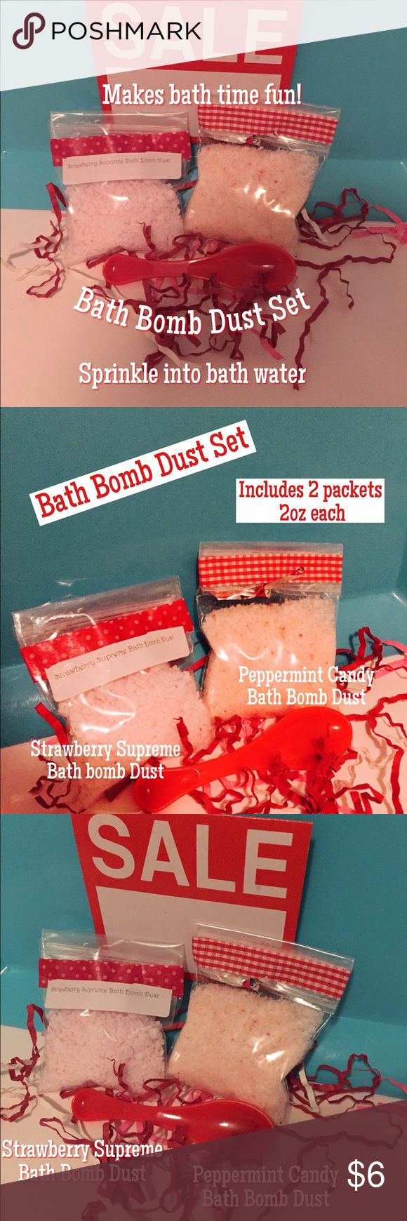 Bath Bomb Dust Set! What fun! bath bomb dust set. Includes 2 packets 2 oz each. 1 strawberry supreme, 1 peppermint candy. Bath bomb dust is made with same ingredients as bath bomb, just in powder form. You sprinkle how much or how little you want in the bath water! Includes scooper. Turns bath water light pink. Sprinkle in bath for soft smooth skin! #bathbombdust#fairydust#bathbombs#skincare#makeup#handmade#pink#lush#bathtime Makeup