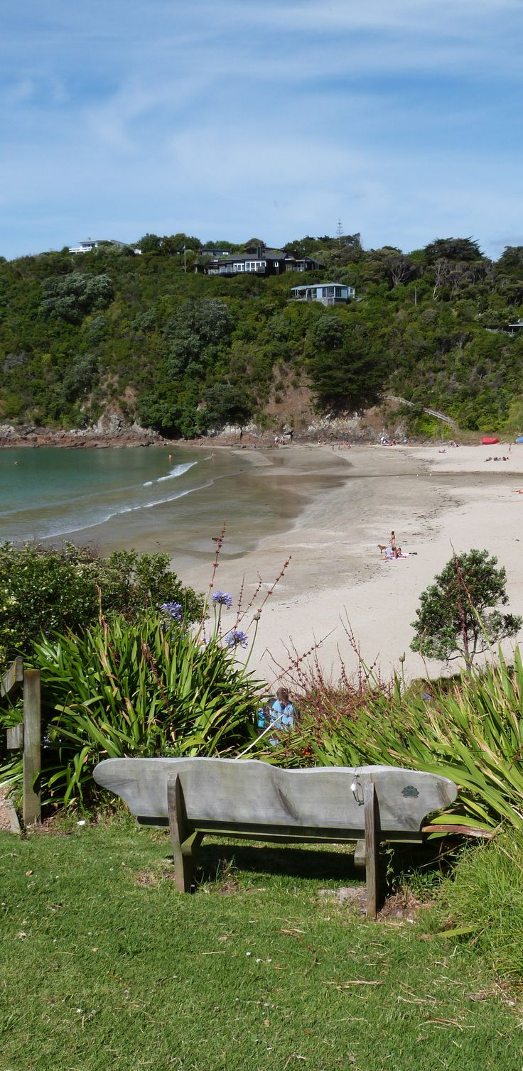 Little Oneroa beach is stunning, with drifts of white sand, sparkling waters and native bush encircling it - NZ