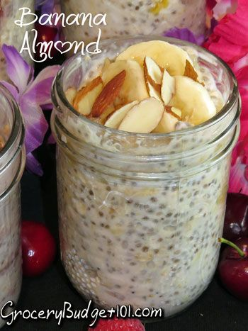 Banana Almond Refrigerator Oatmeal- no cook, high energy Breakfast or Snack, low fat, loads of flavor (Click on photo for more)