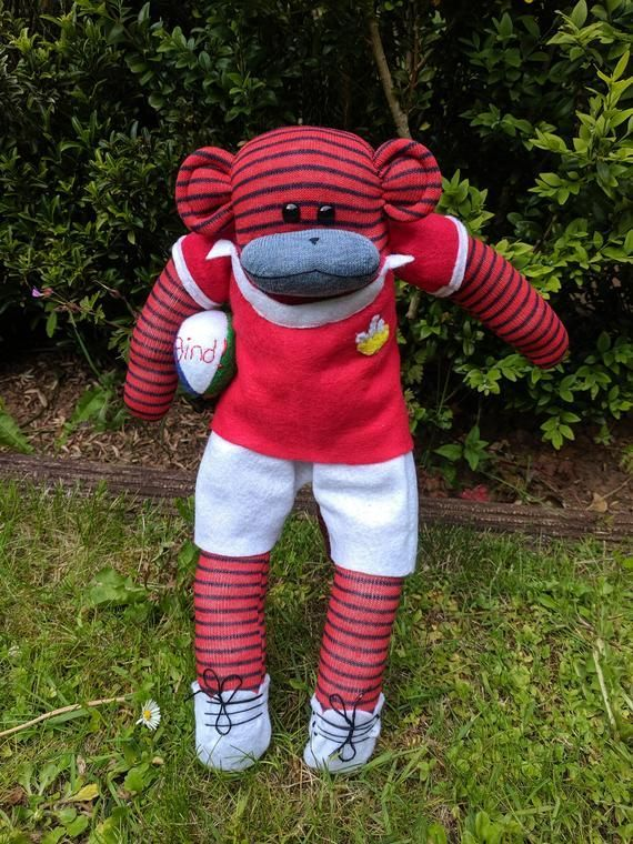 Sock Monkey Rugby Player Wales Rugby Mascot Gift Rugby Gift Welsh Rugby Toy Wales Rugby Kit Sock Monkey Wearing Rugby Rugby Gifts Wales Rugby Rugby Players