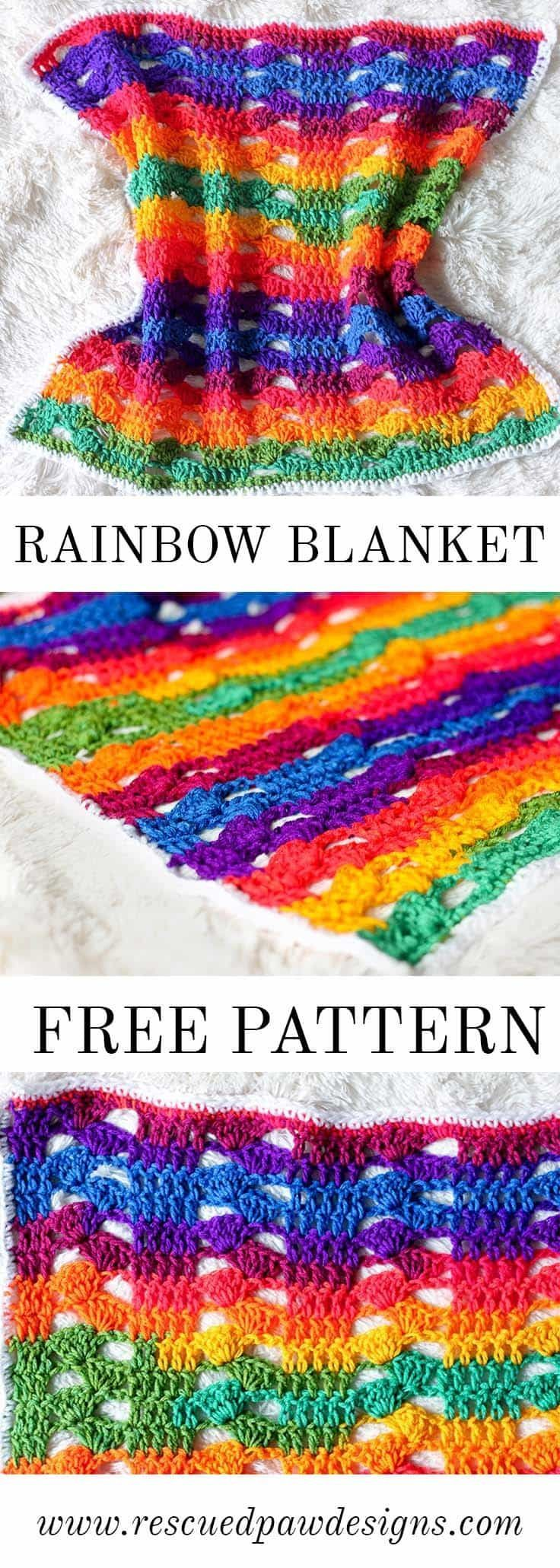 Crochet this Rainbow Cluster Blanket with this absolutely FREE pattern from Rescued Paw Designs. Click to make now or Pin and Save for Later! via @rescuedpaw