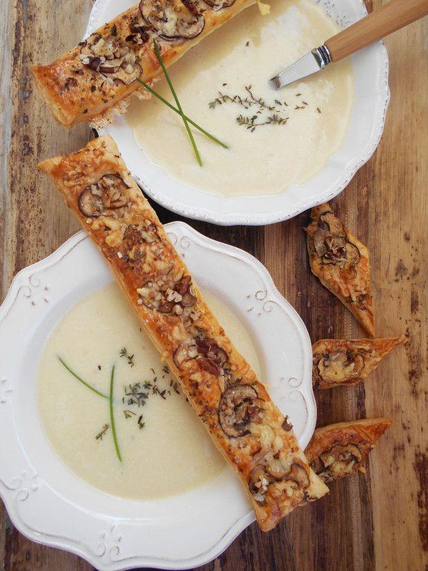 Einfach erste Sahne! Kartoffel-Cremesuppe mit Trüffelöl und Käse-Pilz-Stangen