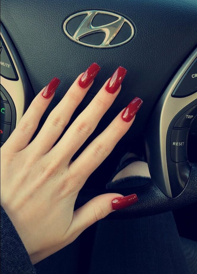 Cherry Red Coffin Shape Nails Acrylic Coffin Shape Nails Nails Acrylic Nails