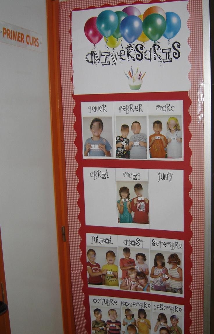 Fotos dels aniversaris per mesos. Júlia Al·lès. Escola Pintor Torrent, Ciutadella, Menorca. Cada fillet/a ensenya el dia del seu aniversari en un cartellet.