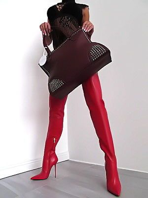 Red thigh crotch boots
