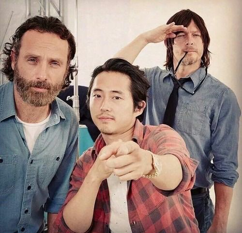The badass, sexy trio.... Andrew Lincoln, Steven Yeun, Norman Reedus                                                                                                                                                      Mehr