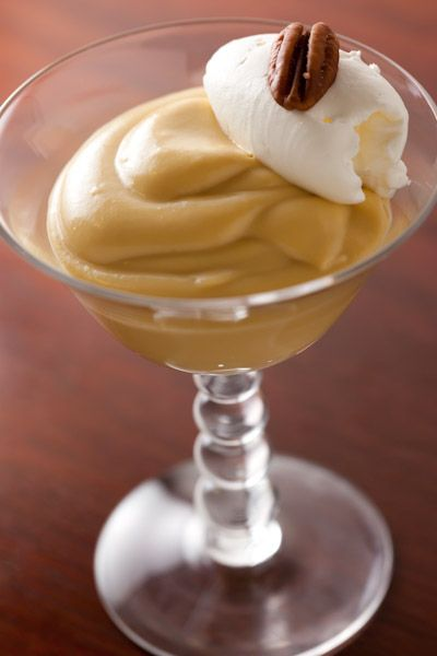 Butternut Squash Pudding with Whipped Cream and Pecan (use coconut milk to make dairy-free)