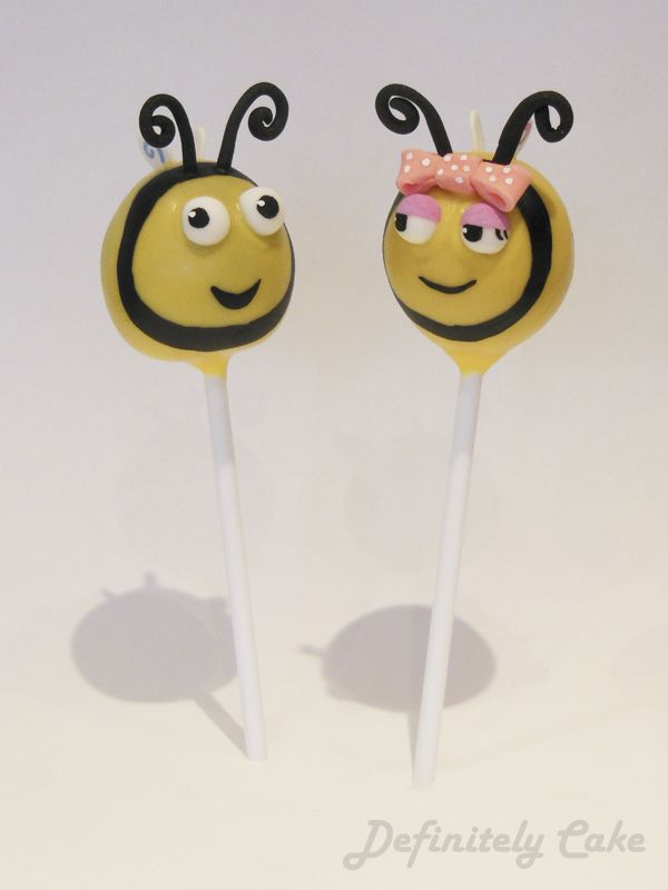 The Hive Cake Pops. Buzzbee and Rubee Bee Cake Pops.