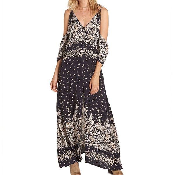 BILLABONG  VESTIDO LARGO DESERT DANCE  Hermoso vestido largo, con botones por el frente, hombros caidos y tirantes ajustables.  $39.990  Encuéntralo en la tienda Billabong
