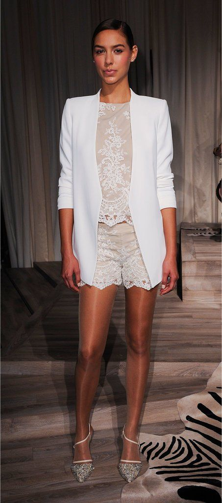 Alice and Olivia - lace shorts and top with blazer mmmm maybe could pull this off?