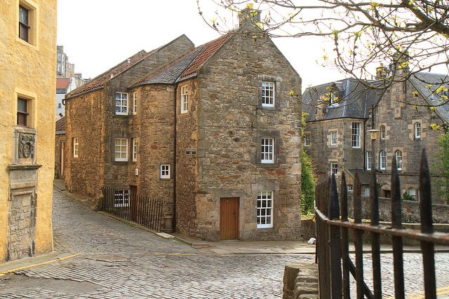 """Possibly one of the oldest continuously inhabited houses in Edinburgh is situated at the foot of Bells Brae in the Dean Village on the corner of Belford Road and Hawthornbank Lane on the edge of the Water of Leith.""""Bell's Brae House - The building, once a merchant's house, dates back to the 17th century and was in a neglected state by 1945. Basil Spence provided designs for its restoration and use as a family house. It was one of his first jobs after the Second World War."""