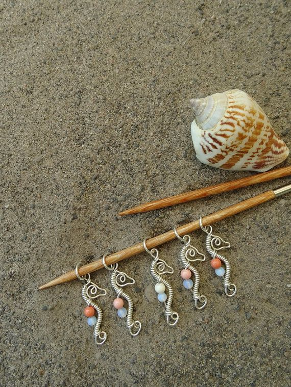 Seahorse Fantasy Knitting Stitch Markers (3 colors) - Sterling Silver Memories of the Sea...