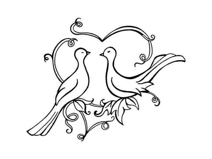 Лет, свадебные голуби рисунок