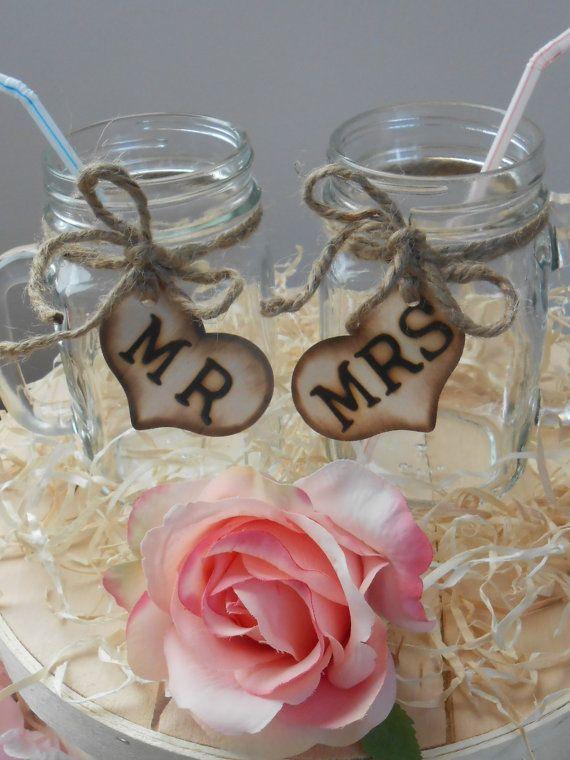 Mason Jar Wedding Glasses / Mr and Mrs Toasting by YesMoreFunk, $22.00