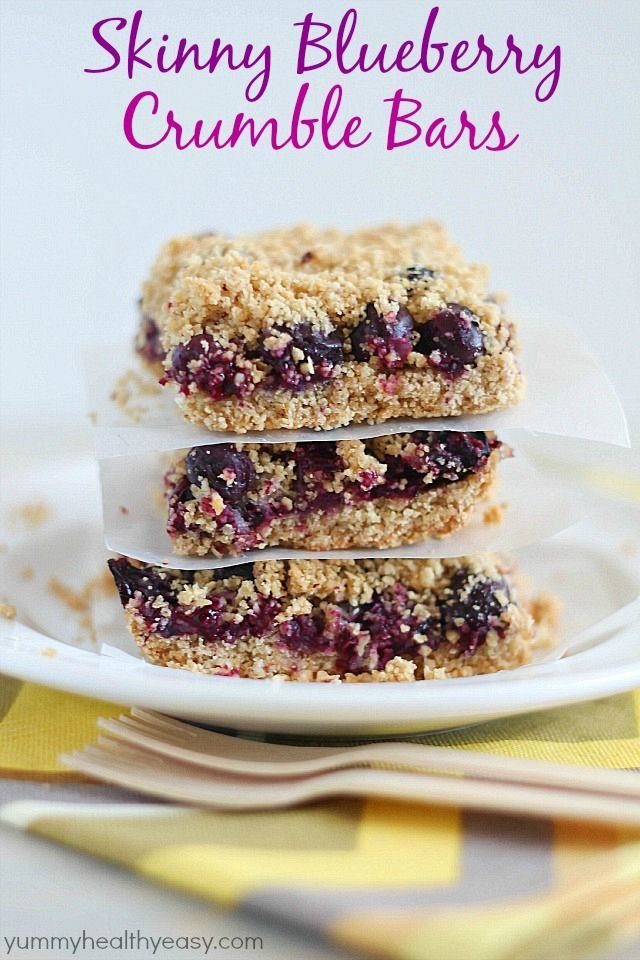 Skinny Blueberry Crumble Bars - a yummy breakfast treat with a light crust, a layer of blueberries and a crumble topping. So delicious!