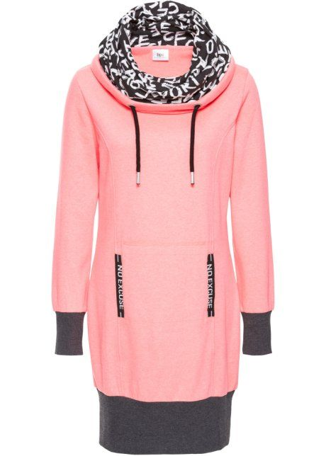 Sweatjurk, bpc bonprix collection, neonzalmkleur Sweatdress pink orange salmon grey print