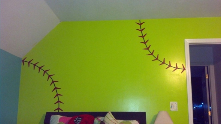 Softball wall..found stitch decals on etsy! Love to do this in Krystal's room