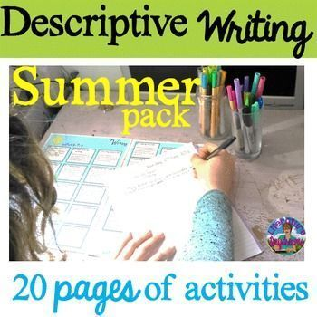 This pack of descriptive writing task prompts contains 20 worksheets and activities to inspire, challenge and enjoy! No prep, 20 pages of descriptive writing activities - a perfect kick-start to your summer. 4 weeks or 20 hours worth of descriptive writing at your fingertips!