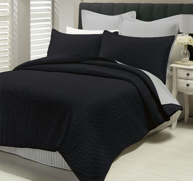 Savoy Black LUX - Features: Polyester Sateen.  Set Contains: x1 Queen to King Bed Coverlet - 220cm x 250cm, x2 Standard Pillow Shams - 48cm x 74cm - #coverletsandcomforters