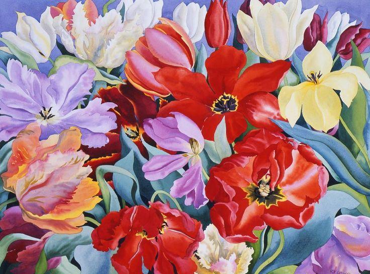 Christopher Ryland SBA (b.1951) — Massed Tulips  (939×695)