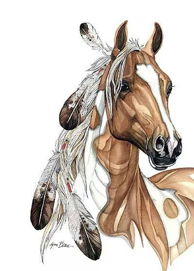 Horse art, Paint pony with feathers in it's mane.