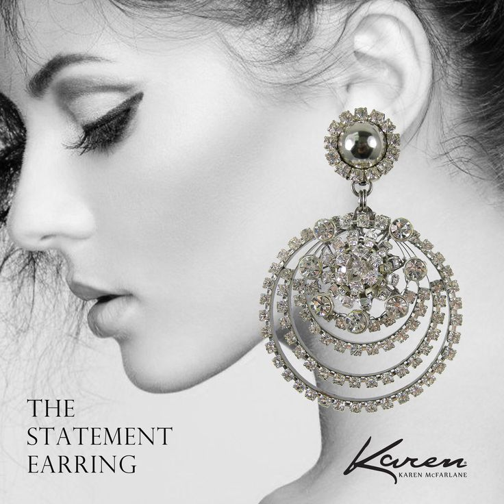The Statement Earring! Oversized silver tone & rhinestone earrings #880e, just reduced! karenmcfarlane.myshopify.com