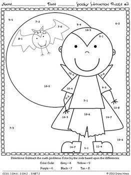 Spooky Subtraction ~ Math Printables Color By The Code Puzzles To Practice Basic Subtraction Facts. ~This Unit Is Aligned To The CCSS. Each Page Has The Specific CCSS Listed.~ This set includes 6 Halloween themed math puzzles to practice basic subtraction facts. CCSS: 1.OA.6 ; 2.OA.2 ; 3.NBT.2 Set also includes 6 answer keys for the 6 puzzles. $