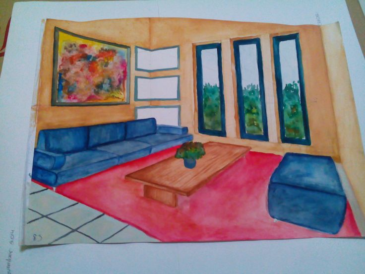 First try water color, indoor, perspective