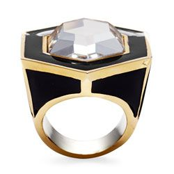 Fun mix of black, gold, and fake bling in this fun cocktail ring.
