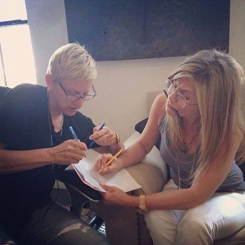 """Jen Co-Hosted on Ellen May 22, 2013. This photo was posted on Ellen's Instagram """"Jennifer Aniston and I are working on tomorrow's show. She'll be co-hosting with me. With the number of pens we have, you can tell it's going to be funny."""""""