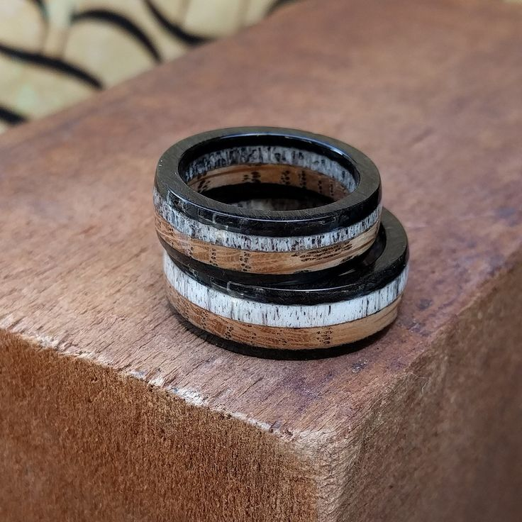 New Whiskey Barrel, Ebony, And Elk Antler Rings!