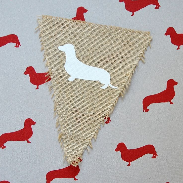 Little Sausage hessian burlap bunting flag party home decor vintage dachshund lovers FREE AUS POST by ShanonaDesigns on Etsy