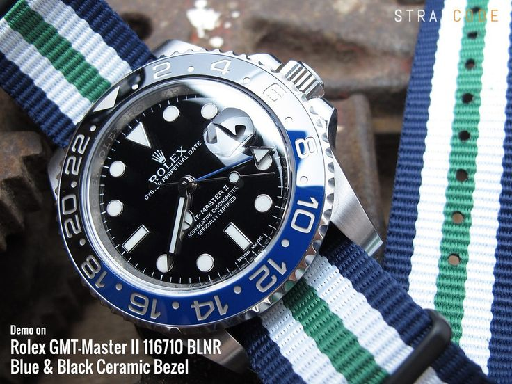 MiLTAT 20mm G10 military watch strap ballistic nylon armband, PVD – Blue, White & Green [20A20DZZ00N2P22] demo on Rolex GMT-Master II 116710 BLNR, Blue & Black Ceramic Bezel MiLTAT G1…