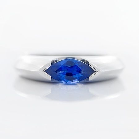 Marquise Sapphire Solitaire Engagement Ring with Semi-rubover Setting and Knife-edge shank