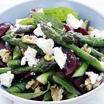 Beetroot, asparagus and feta salad