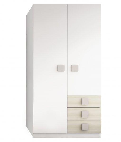 Armario 2 puertas y 3 cajones. Estructura en melamina de 25 mm. Acabado Satinado en color blanco, natural y moka. Guías de aluminio.