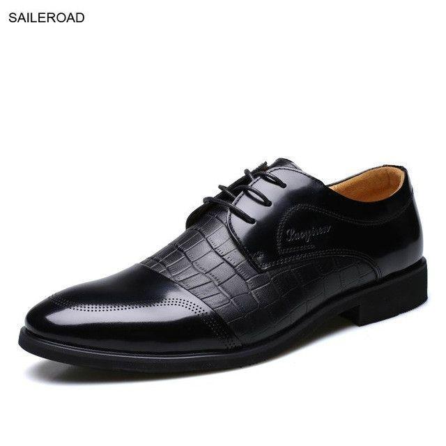 Fashion Genuine Leather Men Oxford Shoes For Men Lace Up Casual Business Men Shoes Men Wedding Shoes Mens Dress Shoe SAILEROAD