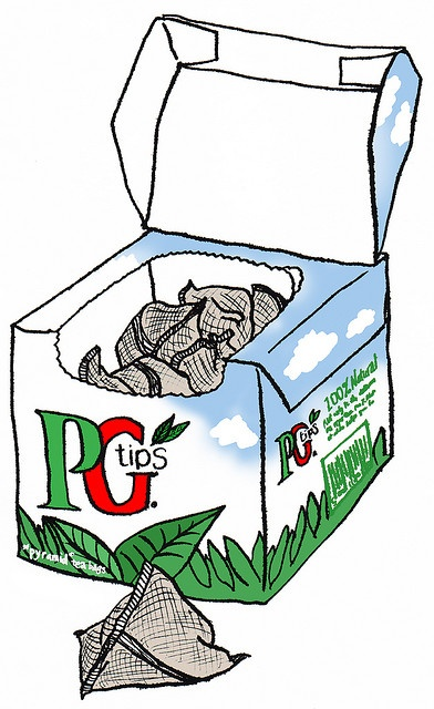 PG tips. My fav tea. Reminds me of my trip to London in high school. 2 teaspoons of sugar and a wee bit of milk. Happy!