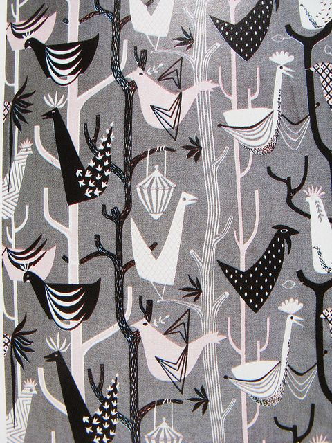 1950s bird print furnishing fabric
