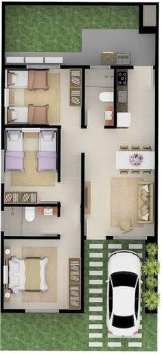 Pinterest: @claudiagabg | Casa en residencia 3 cuartos