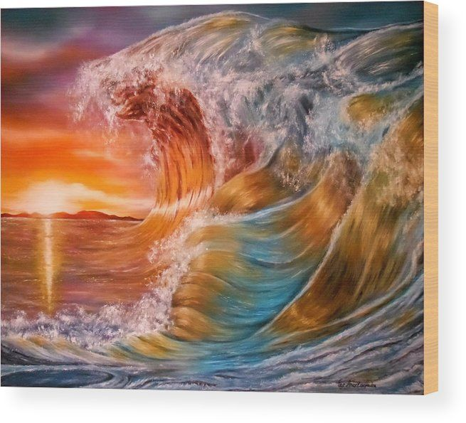 Wood Print,  sunset,ocean,scene,waves,nature,seascape,sunrise,water,rough,crashing,breaking,splashing,big,high,vivid,colorful,multicolor,bright,gold,golden,orange,impressive,scene,fantasy,spray,light,beautiful,image,fine,oil,painting,contemporary,scenic,modern,virtual,deviant,wall,art,awesome,cool,artistic,artwork,for,sale,home,office,decor,decoration,decorative,items,ideas